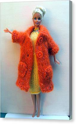 Barbie Doll In Knitted Clothes Canvas Print