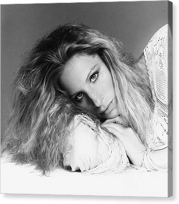Barbra Streisand Lying Down Canvas Print by Francesco Scavullo