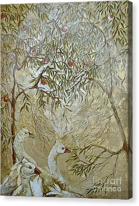 Canvas Print featuring the painting Barcelona Geese by Delona Seserman