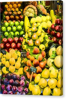 Canvas Print featuring the photograph Barcelona Market Fruit by Steven Sparks