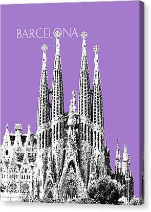 Gothic Poster Canvas Print - Barcelona Skyline La Sagrada Familia - Violet by DB Artist