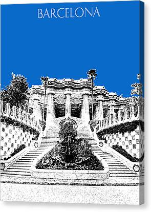 Barcelona Skyline Park Guell - Blue Canvas Print by DB Artist