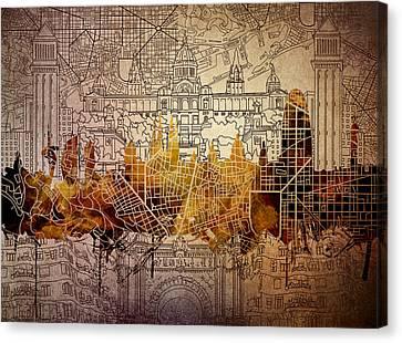 Barcelona Skyline Vintage 2 Canvas Print by Bekim Art
