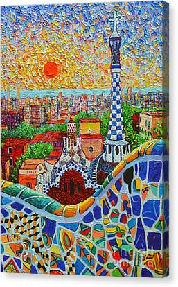 Parc Canvas Print - Barcelona Sunrise - Guell Park - Gaudi Tower by Ana Maria Edulescu