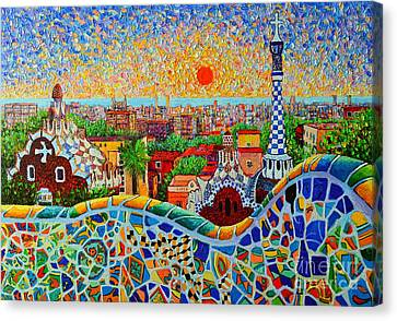 Yellow Building Canvas Print - Barcelona View At Sunrise - Park Guell  Of Gaudi by Ana Maria Edulescu