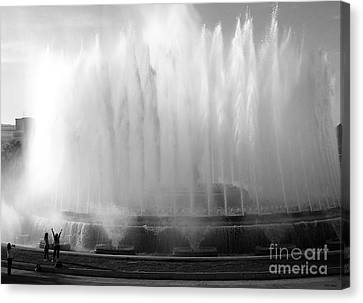 Barcelona Water Fountain Joy Canvas Print by Haleh Mahbod