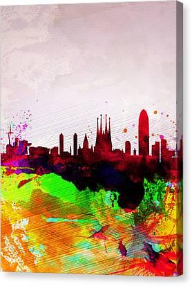 Barcelona Watercolor Skyline Canvas Print by Naxart Studio