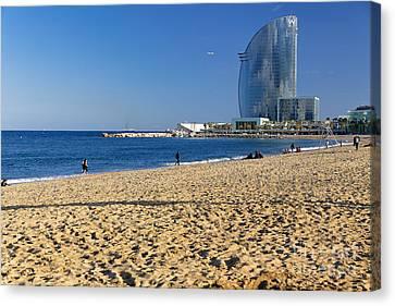 Barceloneta Beach Scenic Canvas Print by George Oze