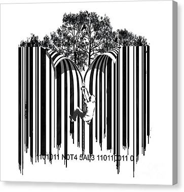 Barcode Graffiti Poster Print Unzip The Code Canvas Print by Sassan Filsoof