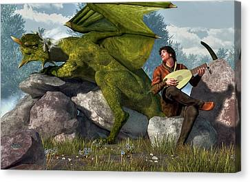 Bard And Dragon Canvas Print by Daniel Eskridge