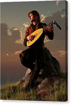 Bard With Lute Canvas Print by Daniel Eskridge