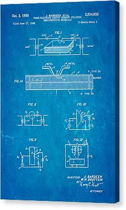 Bardeen Transistor Patent Art 1950 Blueprint Canvas Print by Ian Monk