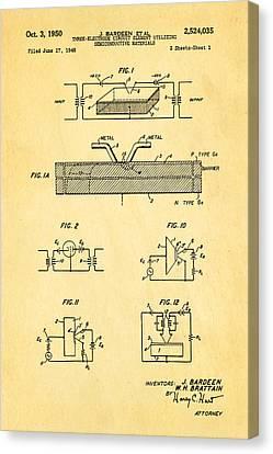 Bardeen Transistor Patent Art 1950 Canvas Print by Ian Monk