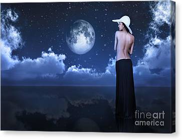 Bare Woman Looking At Moon Canvas Print by Aleksey Tugolukov