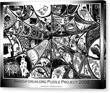 Barenforum Puzzle Woodcut 2004 Canvas Print