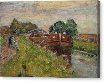 Towpath Canvas Print - Barge And Figures by Henri Duhem