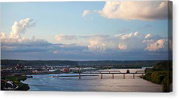 Barge Heads Up River Canvas Print