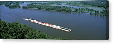 Barge In A River, Mississippi River Canvas Print by Panoramic Images