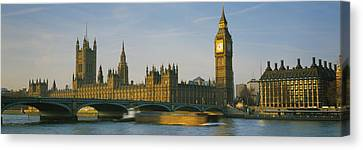 City Of Bridges Canvas Print - Barge In A River, Thames River, Big by Panoramic Images
