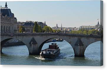 Barge On River Seine Canvas Print by Cheryl Miller