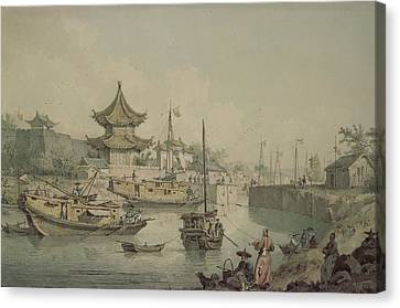 China Cove Canvas Print - Barges Of Lord Macartneys Embassy To China by William Alexander