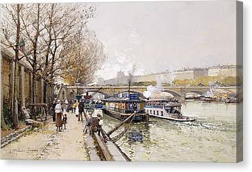 Barges On The Seine Canvas Print by Eugene Galien-Laloue