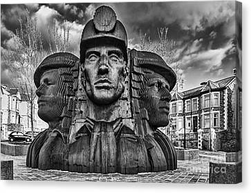 Bargoed Miners 2 Mono Canvas Print by Steve Purnell