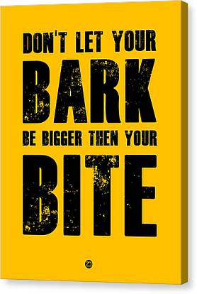 Bark And Bite Poster Yellow Canvas Print by Naxart Studio
