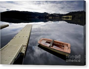Rowboat Canvas Print - Bark On A Lake In Auvergne. France by Bernard Jaubert
