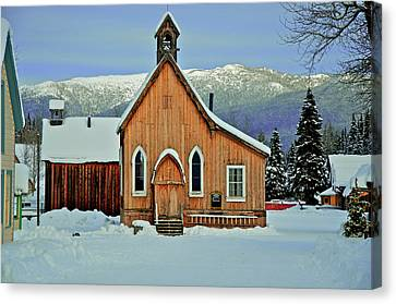 Barkerville Historic Town In Winter Canvas Print