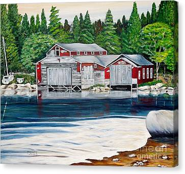 Barkhouse Boatshed Canvas Print by Marilyn  McNish