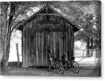 Barn And Bikes Canvas Print by Paulette Maffucci
