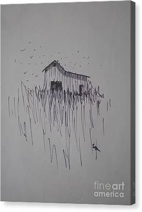 Canvas Print featuring the drawing Barn And Birds by Suzanne McKay