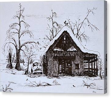 Barn And Car Canvas Print by Jeannie Anderson