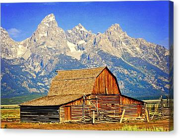 Barn And Mountains 2 Canvas Print by Marty Koch