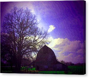 Barn And Oak Digital Painting Canvas Print by Joyce Dickens