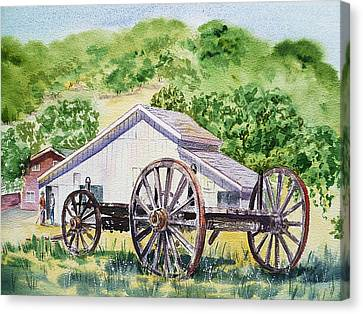 Barn And Old Wagon At Eugene O Neill Tao House Canvas Print