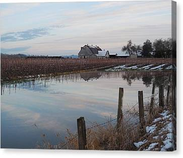 Barn And Reflection Canvas Print