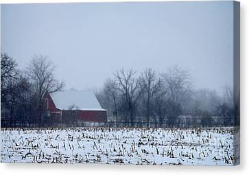 Barn And Snow Covered Field Canvas Print