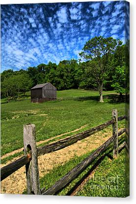 Barn At Hartwood Acres Under Beautiful Sky Canvas Print by Amy Cicconi