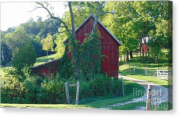 Barn At Piney River Canvas Print by Charlotte Gray