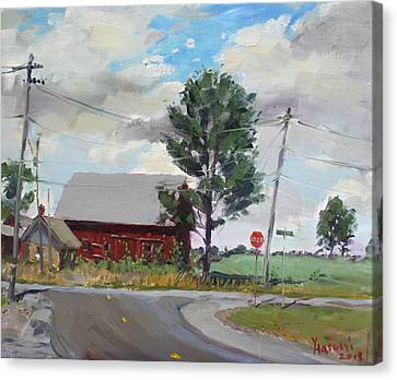 Barn By Lockport Rd Canvas Print by Ylli Haruni
