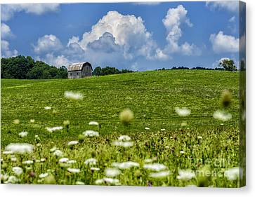 Nicholas County Canvas Print - Barn Clouds And Pasture by Thomas R Fletcher
