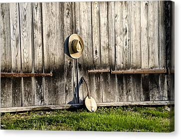 Barn Door And Banjo Mandolin Canvas Print by Bill Cannon
