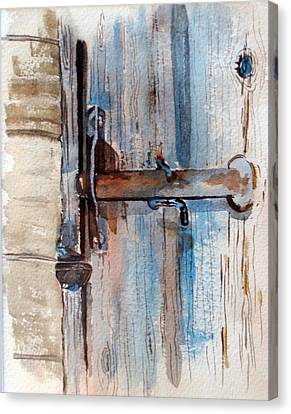 Barn Door Latch Canvas Print by Susan Crossman Buscho