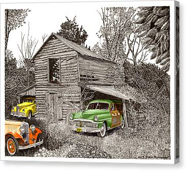 Barn Pen And Ink Canvas Print - Barn Finds Classic Cars by Jack Pumphrey