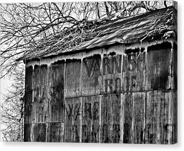 Canvas Print featuring the photograph Barn Ghost Sign In Bw by Greg Jackson