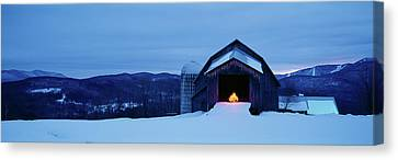 Barn In A Snow Covered Field, Vermont Canvas Print by Panoramic Images