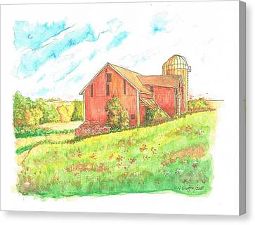 Barn In Cornfield, Wisconsin Canvas Print