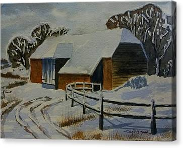 Barn In Snow Canvas Print by Can Dogancan